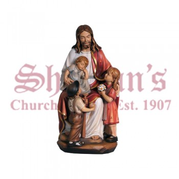 Jesus With The Children Wood Carve Statue