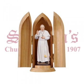 Pope Francis II In Niche Wood Carve Statue
