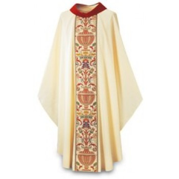 Beige Chasuble with Roll Collar