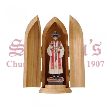 St. Kim Of Korea In Niche Wood Carve Statue