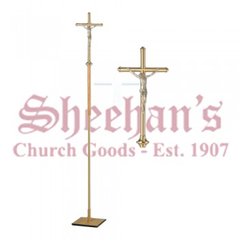 Processional Crucifix with Light Oak Wood Shaft