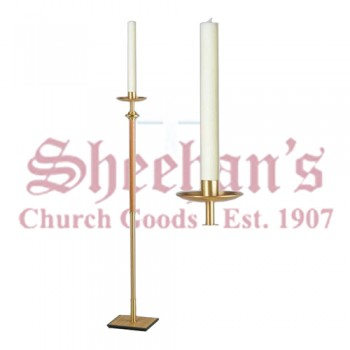 Processional Candlesticks with Light Oak Wood Shaft - Pair