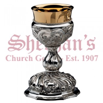Baroque Brass silverplated and goldplated cup Chalice
