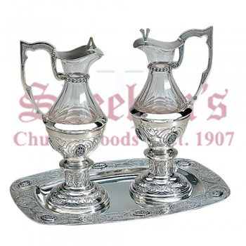 Plateresque Brass silverplated Cruets set