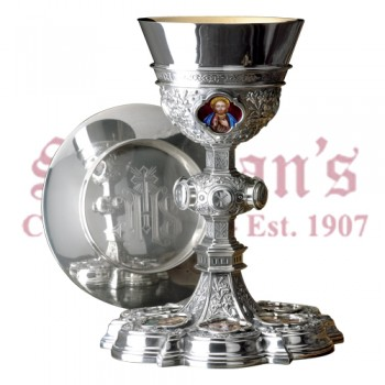 Enamel Gothic Chalice with Scale Paten