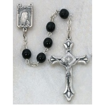 Black 6mm Round Rosary