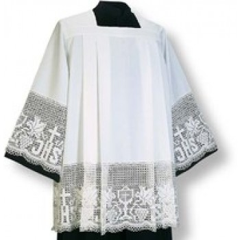 White Surplice with Embroidered IHS