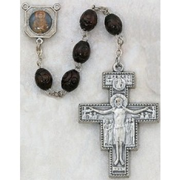 Saint Francis Wood Rosary with San Damiano Crucifix