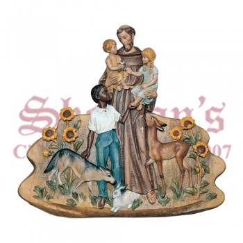 St. Francis Of Assisi With Animals - Relief only (no background)