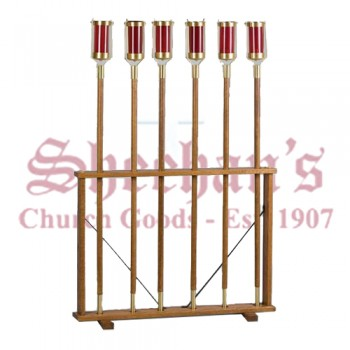 Oak Wood Processional Torch Stand