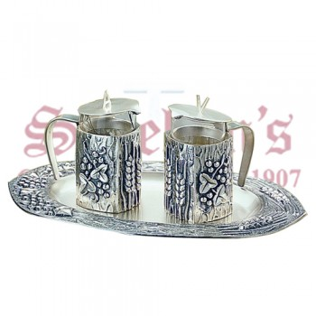 Modern Brass Silverplated Cruets set