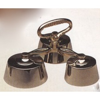 Three Chime Hand Bell In Polish Brass Finish
