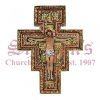 "San Damiano 18"" Resin Stone Cross"
