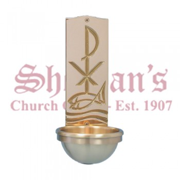 Holy Water Font with Chi-Rho Symbol