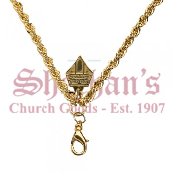 French Robe Style Brass Chain / Gold Plated with Mitre Hook 48""