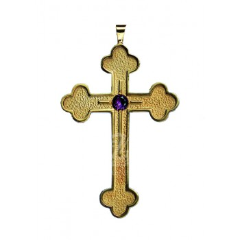 Budded End Pectoral Cross with Genuine Amethyst 4""