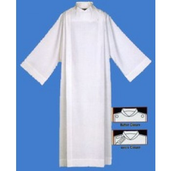 Front Wrap Alb in Pearl White Polyester and Rayon