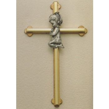 "8"" Praying Girl Brass Wall Cross"