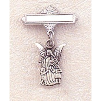Sterling Guardian Angel Bar Pin