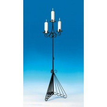 Triple Candle Holder of Wrought Iron