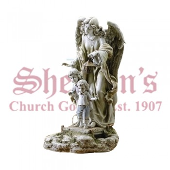 Guardian Angel with Children Solar Powered Outdoor Statue
