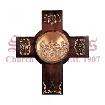""" Cross plaque "" Brass Church Sanctuary Stations"