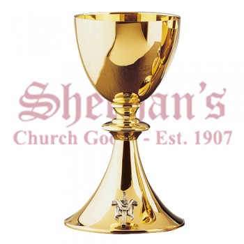 Simple Style Chailce Gold Plated with Cross on Base