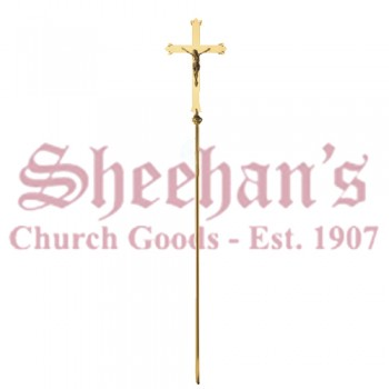 Modern Brass finish Processional Crucifix