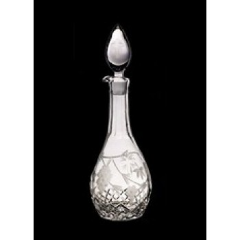 Crystal Decanter with Etched Grape and Vine Leaves Motifs