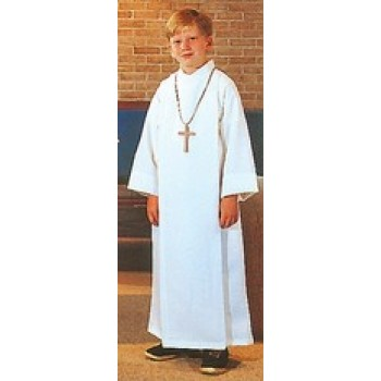 Altar Server Front Wrap Alb in Flax Poly Rayon Blend