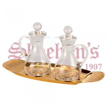 Glass Cruets with Brass Tray