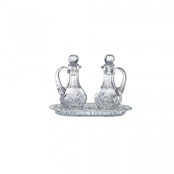 Pinwheel Design Crystal Cruets and Tray Set