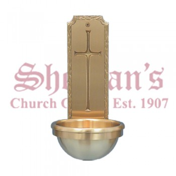 Wall Holy Water Font with Latin Cross Symbol