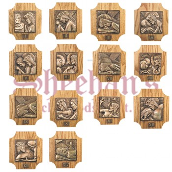 Stations of the Cross on Solid Oak Panel