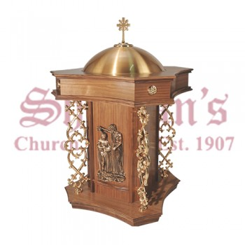 Wood Finish Baptismal Font
