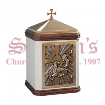 Bronze and Walnut Tabernacle with Lamb of God and Cross Design