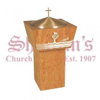 Baptismal Font with Baptismal Shell and Fish Symbols