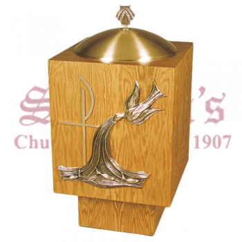 Baptismal Font with Chi-Rho and Holy Spirit Design