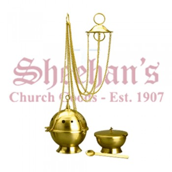 Classic Brass Finish Censer and Boat