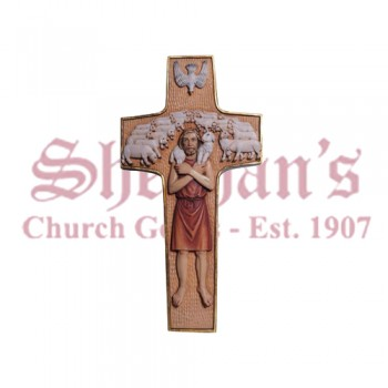 Cross Pope Francis Wood Carve Statue