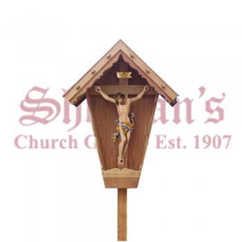 Corpus On Cross With Roof Larch Weatherproof