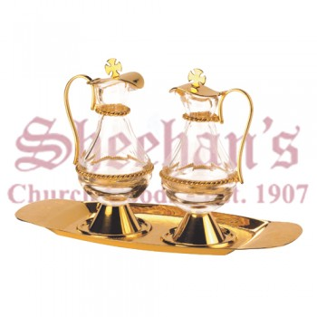 Classic Brass Goldplated and Glass Cruet Set