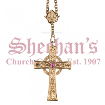 Celtic Cross Pectoral Cross with Amethyst