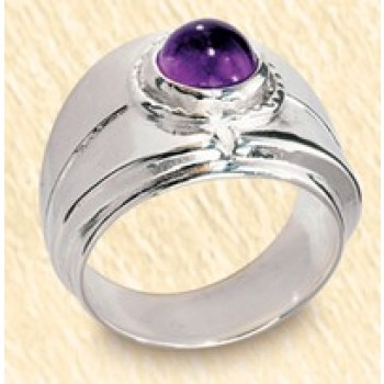Silver Bishop's Ring with Amethyst
