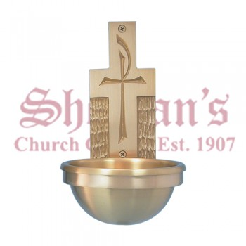 Holy Water Font - Chi Rho Symbol Against Cross