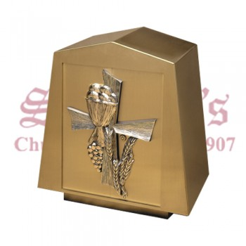 Bronze Tabernacle with Eucharist, Wheat & Grapes Design
