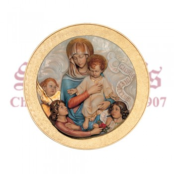 Our Lady And Child - Medallion Mounted On Background Panel