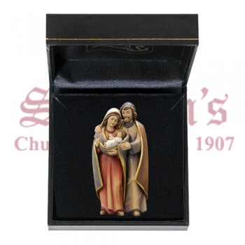 Holy Family Group Mini Wood Carve in Case