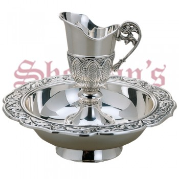 Gothic Brass Silverplated Jug and Basin