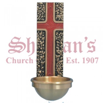 Holy Water Font with Red Cross